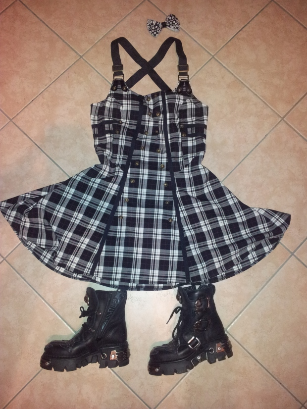 Hell Bunny military/goth dress tartan - new rock